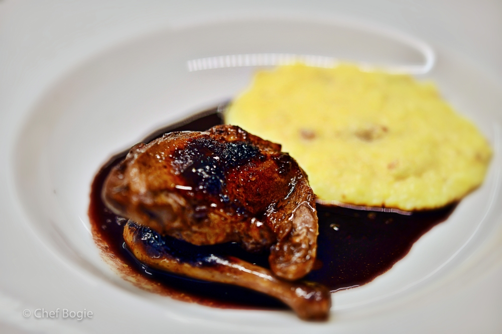 Squab with port glaze and reduction over creamy polenta-8992
